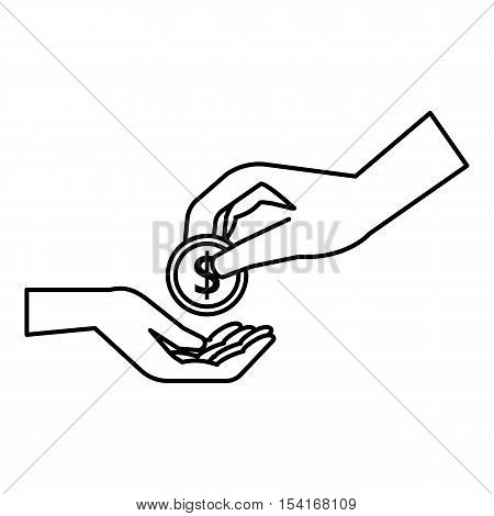 Hands holding coins icon. Outline illustration of hands holding coins vector icon for web