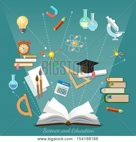 Education infographics open book of knowledge school background