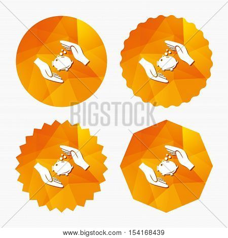 Piggy bank money sign icon. Hands protect moneybox symbol. Money or savings insurance. Triangular low poly buttons with flat icon. Vector