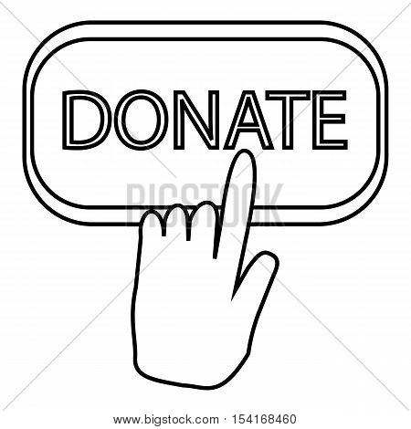 Hand presses button to donate icon. Outline illustration of hand presses button to donate vector icon for web