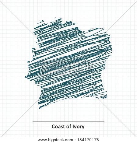 Doodle sketch of Coast of Ivory map - vector illustration