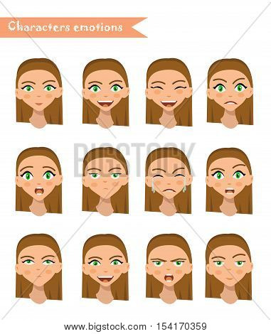 girl emotion face expression icons and beauty girl emotion face vector. Isolated set of Human emotion face avatar expressions face emotions vector illustration. woman emotion face set.