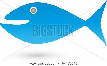 Fish in blue, cetacea, fish and animal logo