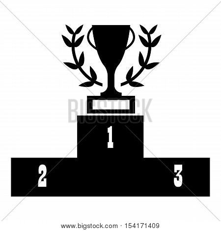 Prize podium with cup icon. Simple illustration of prize podium with cup vector icon for web
