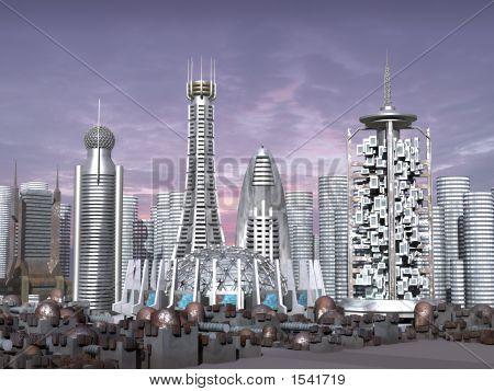 Modelo 3D da cidade de Sci-Fi