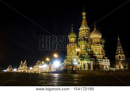 Nighttime view of St. basil Cathedral on the Red Square in Moscow, Russia