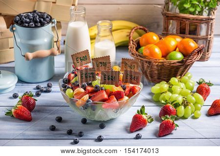 Healthy fruit salad with no preservatives on old wooden table