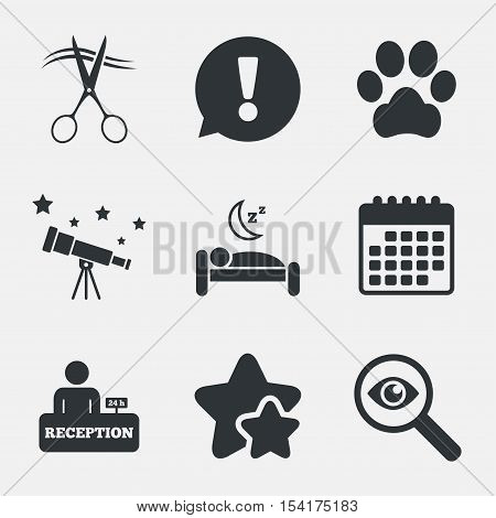 Hotel services icons. With pets allowed in room signs. Hairdresser or barbershop symbol. Reception registration table. Quiet sleep. Attention, investigate and stars icons. Telescope and calendar signs