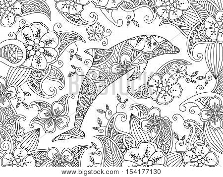 Coloring page with one jumping dolphin on floral background. Horizontal composition. Coloring book for adult and older children. Editable vector illustration.