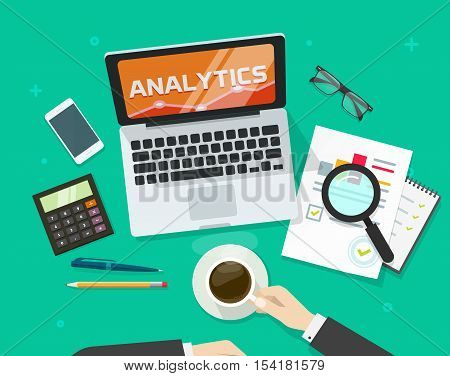 Financial auditing report concept, financial data research verification, accounting review, auditor work desk, business research, auditing tax process, data analysis, project quality manage vector