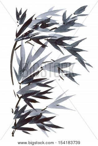 Watercolor and ink illustration in style sumi-e u-sin. Oriental traditional painting.