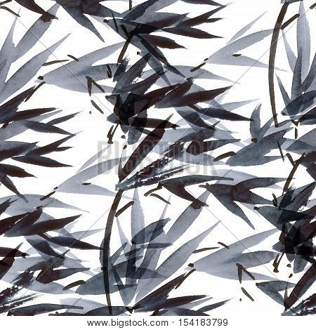 Watercolor and ink illustration in style sumi-e u-sin. Oriental traditional painting. Seamless pattern.