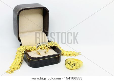 Gold bracelet on the white background,jewelry and precious stone,jewelry and precious stone