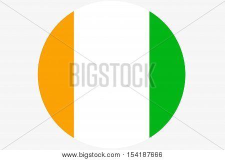 Cote d'ivoire flag ,Original and simple Ivory Coast flag circle illustration design