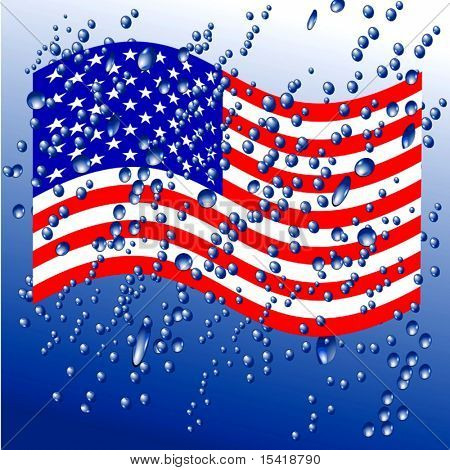 Vector Raindrops On American Flag, See Jpeg Also In My Portfolio