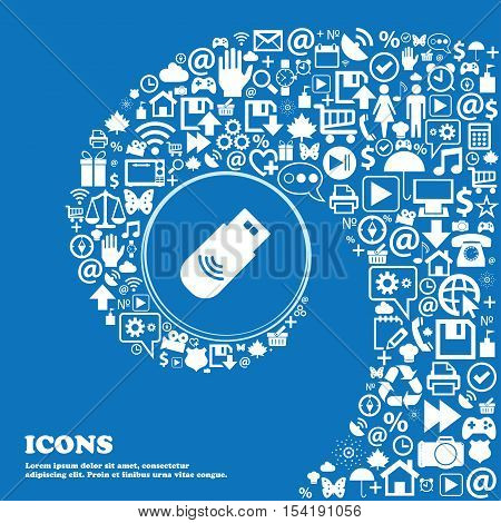 Usb Icon Sign. Nice Set Of Beautiful Icons Twisted Spiral Into The Center Of One Large Icon. Vector