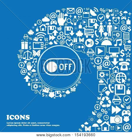 Off Icon Sign. Nice Set Of Beautiful Icons Twisted Spiral Into The Center Of One Large Icon. Vector