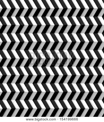 Repeating black and white seamless zig zag background pattern, eps10 vector