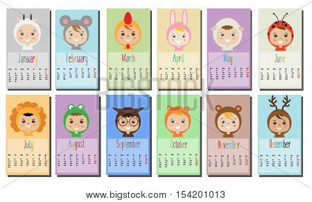 2017 year calendar with Kids in party Outfit. Children in Animal Carnival Costumes. 12 month full year calendar design template. Calendar for kids.