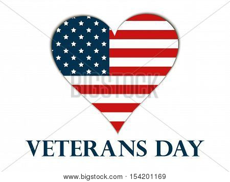 Veterans Day. Heart with the American flag on a white background. Vector illustration.