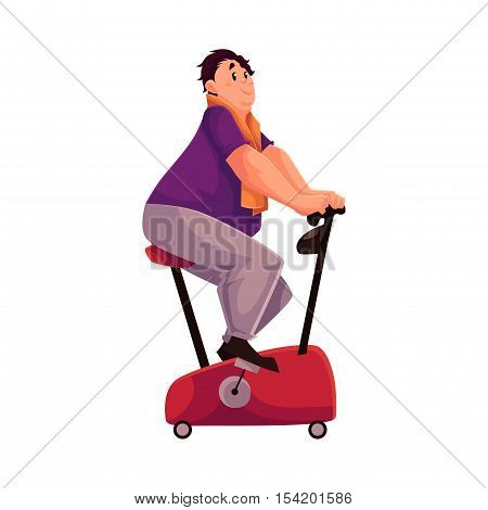 Fat man doing cycling workout, cartoon vector illustration isolated on white background. Obese, fat, chubby man trying to get fit by cycling, doing cardio exercises