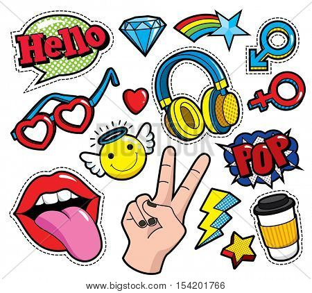 Fashion patch badges with lips, hearts, star and other elements. Vector illustration isolated on white background. Set of stickers, pins, patches in cartoon 80s-90s comic style.