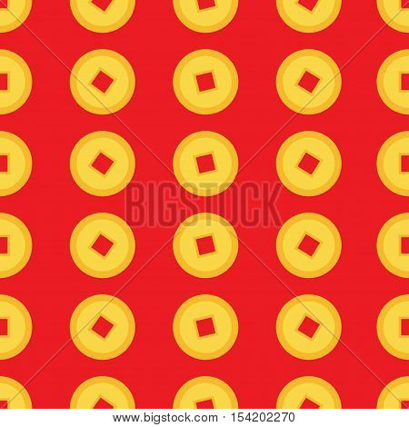 Chinese coin set. Seamless Pattern China gold money square centre. Golden coin with hole. Happy New Year symbol atribute. Red background. Flat design. Vector illustration.