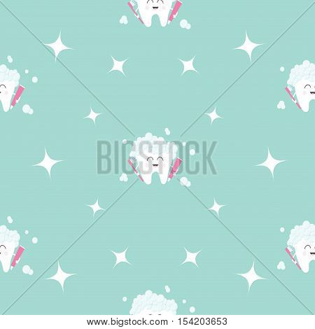 Seamless Pattern Brush Paste Tooth health. Sparkle star. Cute funny cartoon smiling character. Oral dental hygiene. Children teeth care. Baby texture. Flat design. Blue background Vector illustration.
