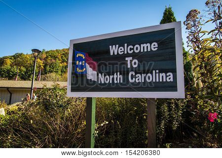 Waynesville, North Carolina, USA - October 24, 2016:  Welcome sign at the North Carolina visitors center in Waynesville, North Carolina.