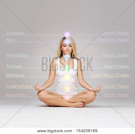 Woman meditating in lotus position. Colored chakra lights over her body. Yoga, zen, Buddhism, recovery and wellbeing concept.