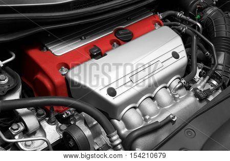 Car Engine. Close-up detail