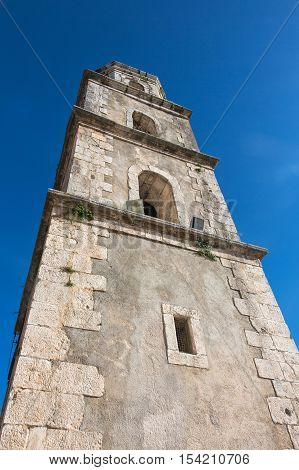 Steeple of the Mother church of Santa Croce in Palomonte southern Italy