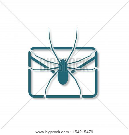 E mail virus attack icon on white background