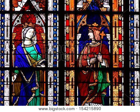 Mantes la Jolie; France - october 18 2016 : stained glass window in the gothic Notre Dame collegiate church
