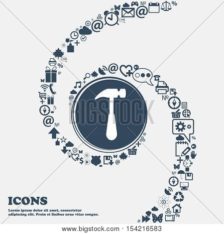Hammer Icon In The Center. Around The Many Beautiful Symbols Twisted In A Spiral. You Can Use Each S