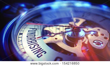 Vintage Watch Face with Fundraising Text, Close View of Watch Mechanism. Business Concept. Film Effect. Watch Face with Fundraising Wording on it. Business Concept with Film Effect. 3D Render.
