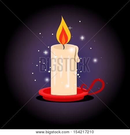 Candle light. Vector magic sparkling flaming single cangle single for christmas or hanukkah