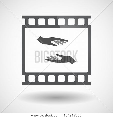 Isolated 35Mm Film Frame Slide Photogram With  Two Hands Giving And Receiving  Or Protecting
