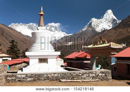 Ama Dablam Lhotse and top of Everest from Tengboche - Way to Everest base camp - Khumbu valley - Nepal