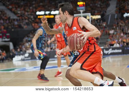 VALENCIA, SPAIN - OCTOBER 30th: San Emeterio with ball during spanish league match between Valencia Basket and Morabanc Andorra at Fonteta Stadium on October 30, 2016 in Valencia, Spain