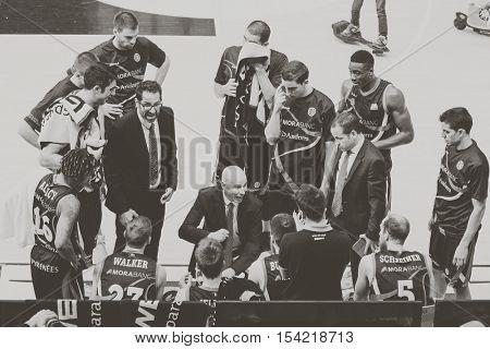 VALENCIA, SPAIN - OCTOBER 30th: Andorra team during spanish league match between Valencia Basket and Morabanc Andorra at Fonteta Stadium on October 30, 2016 in Valencia, Spain