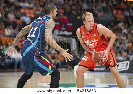 VALENCIA, SPAIN - OCTOBER 30th: Sikma with ball during spanish league match between Valencia Basket and Morabanc Andorra at Fonteta Stadium on October 30, 2016 in Valencia, Spain
