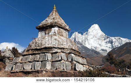 Stupa near Pangboche village with mount Ama Dablam - way to mount Everest base camp - Khumbu valley - Nepal