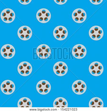 Spool reel filmstrip seamless pattern. Movie reel cinema and slot reels reel to reel tape. Vector illustration