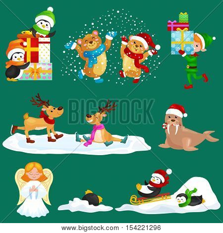 Illustration set animals winter holiday North Pole penguins presents and sledding down the hills, bears under snow elf boxes, deer skating, walrus in hat, vector angel.Merry Christmas and Happy New Year.