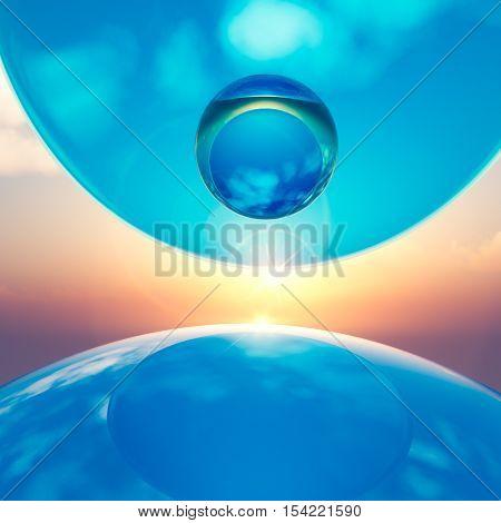 An abstract background floating crystal balls amid horizon sun 3d illustration.