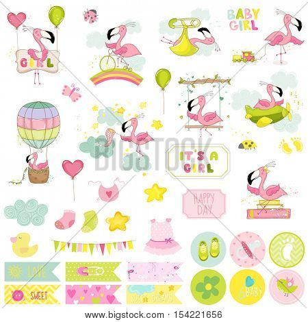 Baby Girl Flamingo Scrapbook Set. Vector Scrapbooking. Decorative Elements. Baby Tags. Baby Labels. Stickers. Notes.