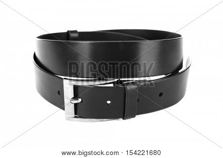 Black leather belt isolated on white