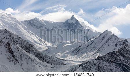 Mount Khangsar Kang (Roc Noir) Annapurna range from Ice Lake way to Thorung La pass Round Annapurna circuit trekking trail Nepal
