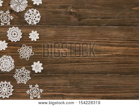 Snowflakes Wood Background Christmas Snow Flake Lace Decoration Snowflake on Wooden Planks